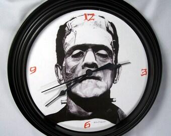 Frankenstein's Monster Wall Clock - Original Graphite Portrait