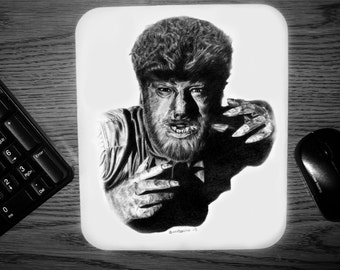 The Wolfman Mouse Pad - Original Graphite Portrait