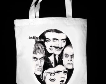 "Addams Family 13"" x 13"" CanvasTote Bag - Original Graphite Portrait"