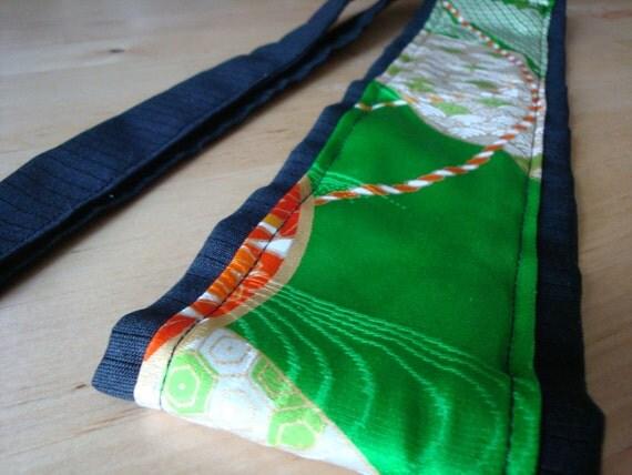 "OBI belt ""Kimi"" - Royal green and black kimono wrap"
