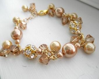 Gold Pearl Cluster Bracelet
