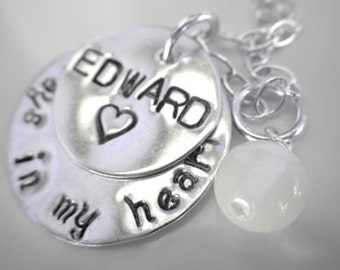 Always In My Heart sterling silver handstamped necklace