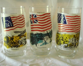 NEW Lower Price-- Historical US Flag Glasses by Coke distributed by Herfys