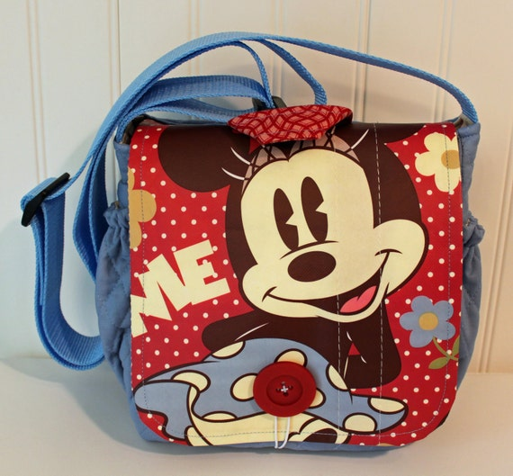 Upcycled Minnie Mouse Small Messenger Bag