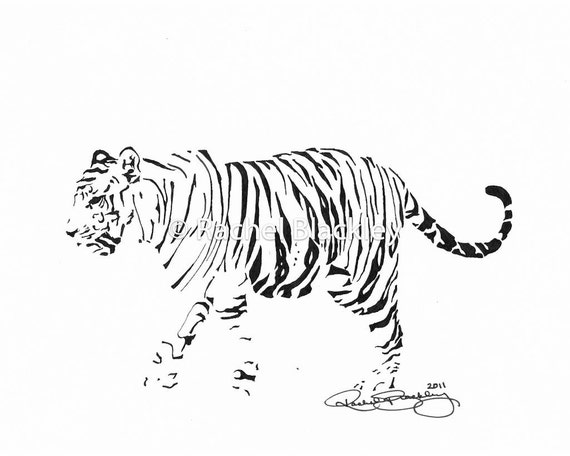 Tiger - Ink Sketch, Ink Drawing, Pen and Ink, Black and White, Fine Art Print, Giclee, Original Art, Animal, Cat