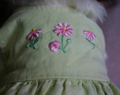 Linen Dress Altered for Small to Medium Dog in Light Green with Embroidered Pink Flowers Adjustable Sash Ties Upcycled