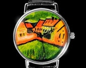Original Hand-painted Watch - Meadow at moritzburg - Miniature painting