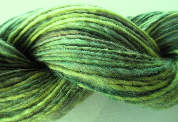 "Handspun Yarn ""Fairy Glen"" Single Ply Corriedale Wool"