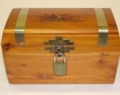 Vintage wooden cedar Coin Bank Cedar Treasure Chest Maine Coin Slot. With key