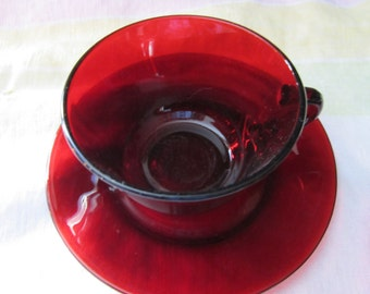 Ruby Cup and Saucer Ruby glass pattern red heart