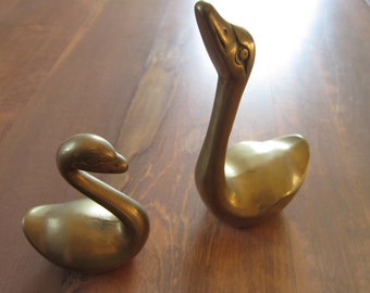 Brass Swan figurines pair vintage 6 inch and 4 inch...