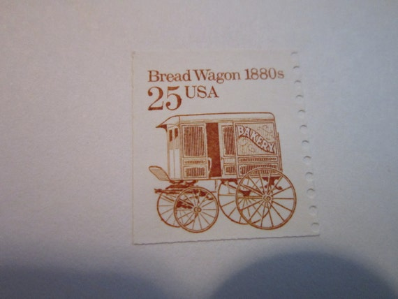 1880s 25 cents USA NEW Vintage Postage Stamp Bread Wagon