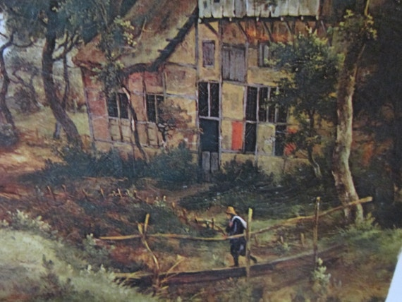 Vintage Litho print Hobbema Village Avenue Reduced 50% due to Crease