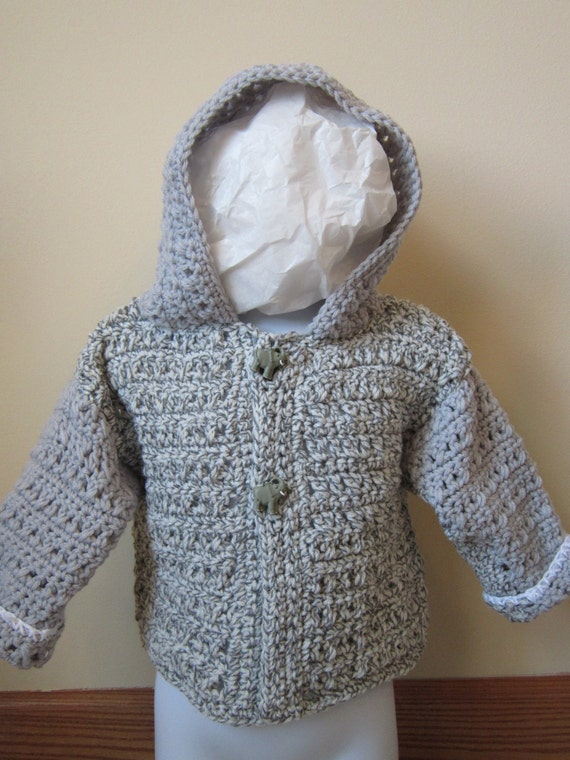Knitting Pattern Cardigan For 18 Months : crocheted toddler boy or girl hooded sweater size 18 months