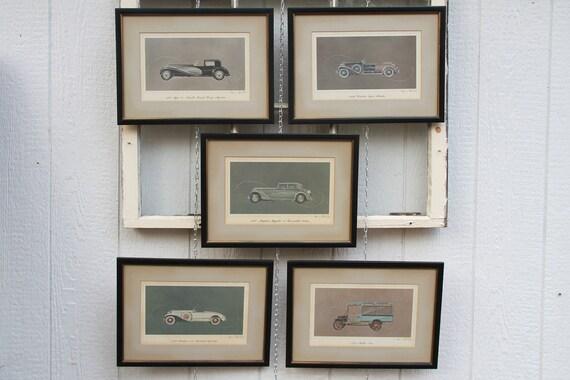 1960's Alexis De Sakhnoffsky Framed Car Prints - Bugatti, Packard, Maybach