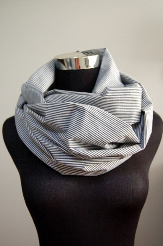 Unisex Cotton Infinity Scarf - Navy Stripes