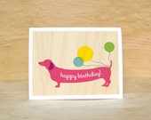Happy Birthday Wiener Dog Card - pink
