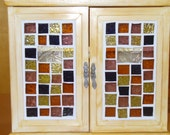 Spice rack, 2 shelves, recycled, with stained glass doors and antique handles