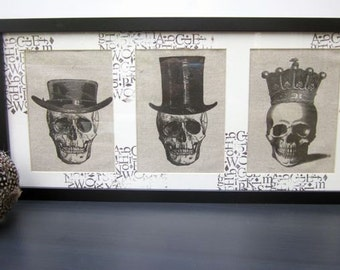 Skeleton Goth Steampunk Decor Skulls Art Picture Framed