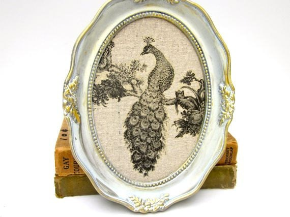 Peacock Picture Art Painted Vintage Oval Frame Home Decor