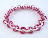 Breast Cancer Awareness Aluminum and Rubber Chain Maille Bracelet