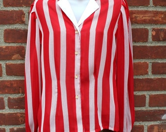 Stripped Blouse  Red & White Shirt