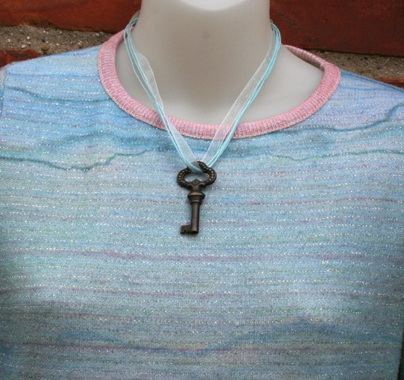 Skeleton Key  Light Blue Ribbon Necklace