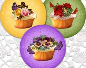 Vintage Cupcakes 2 Inch Circles Digital Collage sheet no. 069 for Pendants -