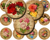 Vintage Victorian Roses & Flowers Digital Collage Sheet 1.5 Inch Circles no. 104 for Pendants