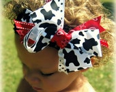 Lil' Country Girl Boutique Bow in Cow Print & Red Bandana