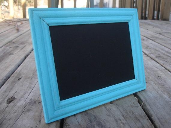 Upcycled aqua/blue distressed chalkboard frame- photo prop