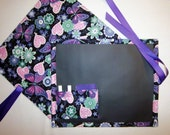 Mod Butterfly and Flowers Travel Chalkboard For Kids/Placemat