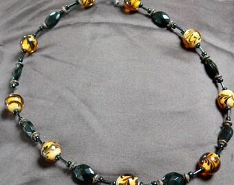 Orange & Black Beaded Necklace