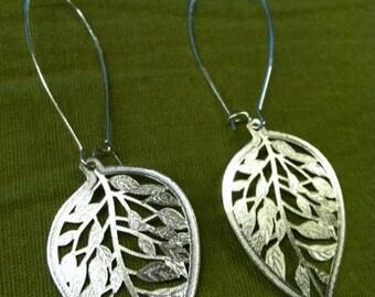 Metal Leaf Dangle Earrings