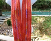 Crocheted Scarf - Women's - Melon and Melonberry Multi-Colored Stripes