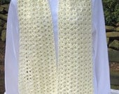 Crocheted Scarf - Off White - Soft, Lacy, & Warm