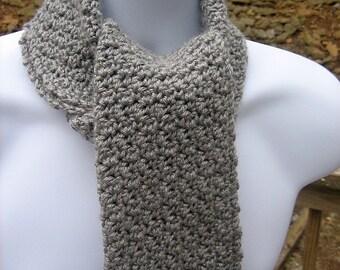Crocheted Scarf -  Heather Grey - Unisex