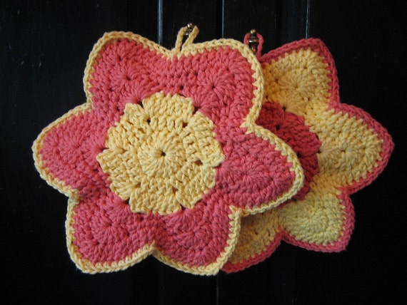 Crocheted Pot Holders  (2) - Yellow and Orange Flowers