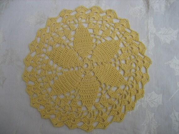 Crocheted Doily - Yellow - 8 inch Diameter Six Petal