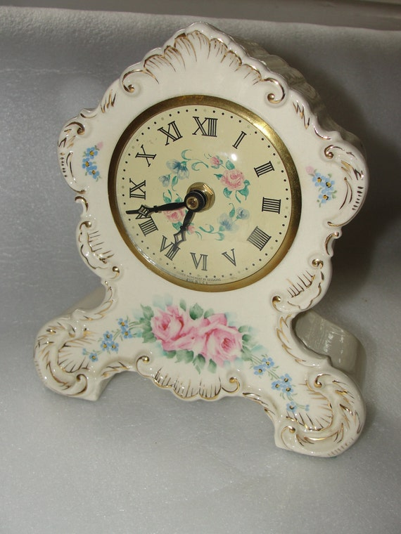 vintage shabby rose chic cottage ceramic porcelain mantel clock 1940's modified to battery operated