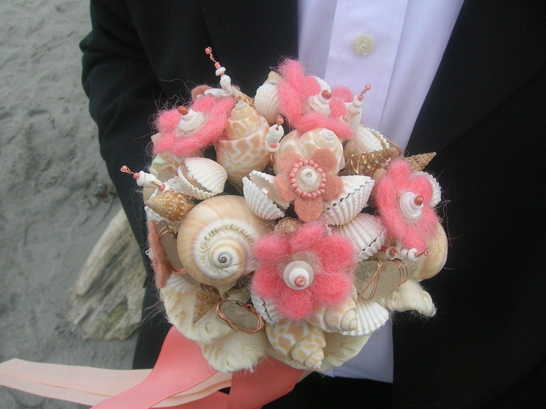Button Bridal Bouquet Etsy : Salmon peach and ivory bridal button bouquet boutonniere