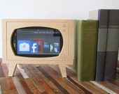 Handmade Natural Wood Retro TV  Dock for Kindle & ZTE Optic Tablets (not HD)