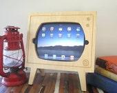 Handmade Natural Wood Ipad Dock - Retro TV