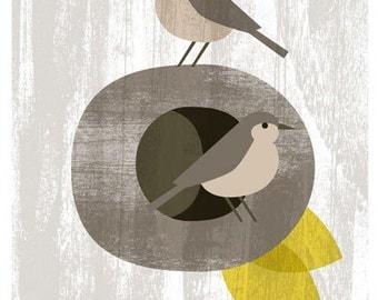 2 horneros  birds at home - wood texture collage - Original Printable Image Download