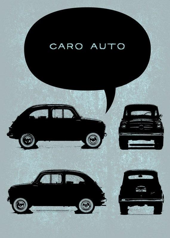 Old car Fiat 600 - Digital Image Download - choose textured color backgrounds