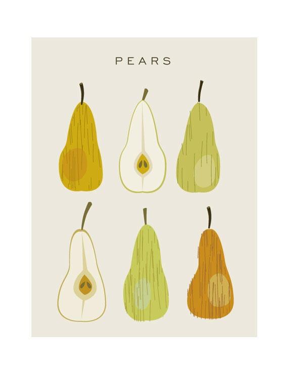 Pears printable poster - Original Illustrated Digital Image for Download - Printable Home Decor Art