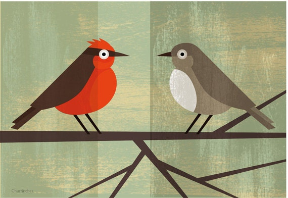 Churrinches bird couple  - Original Printable Image Download