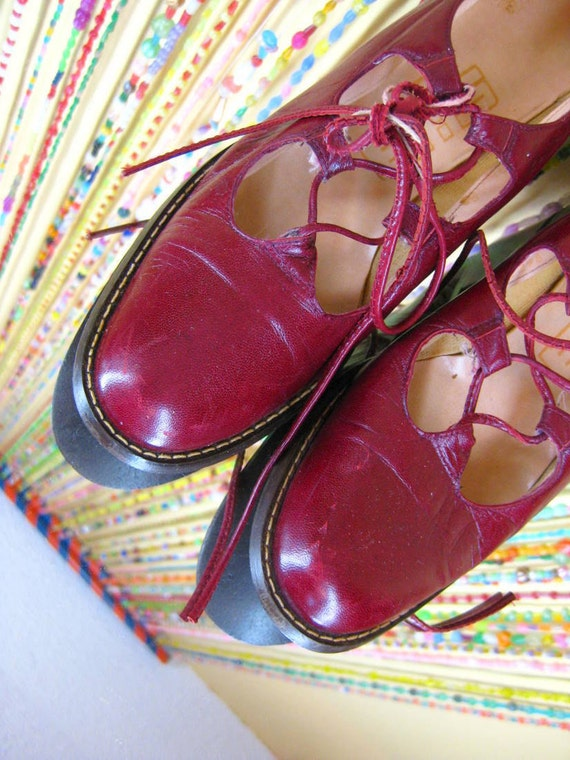 Vintage 80s SJA Red Leather Lace Up Loafer sz 8
