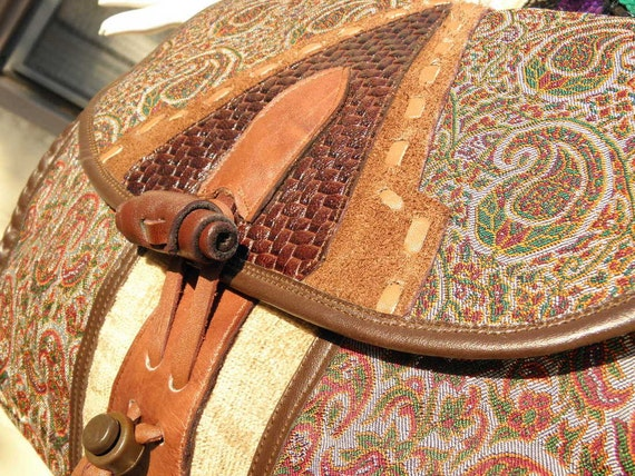Oversized Vintage 1970s Leather & Suede Paisley Tapestry Shoulder Bag