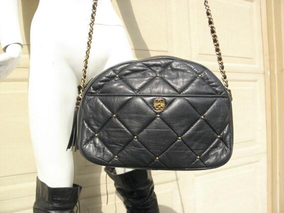 Vintage 1980s Black Leather Chanel Style Bag